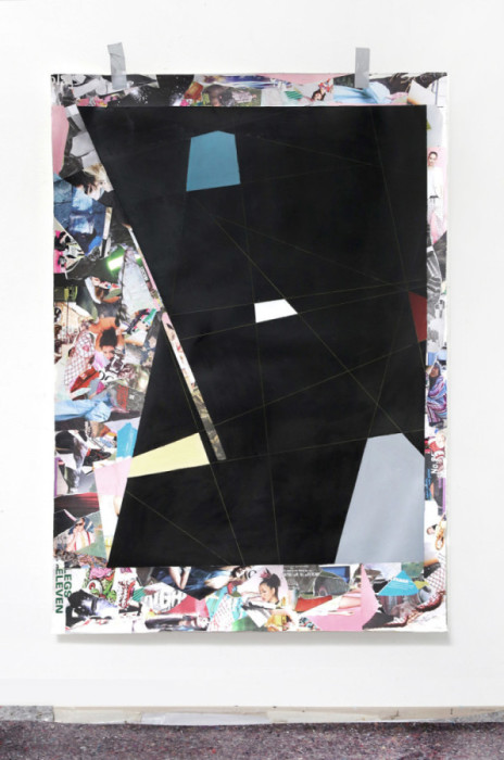 Two in one, Collage with paper and oil on fine art paper, 140x 190 cm