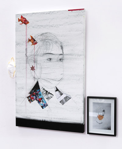 The Tears of the fishes,  Installation with Painting, photocollage and object